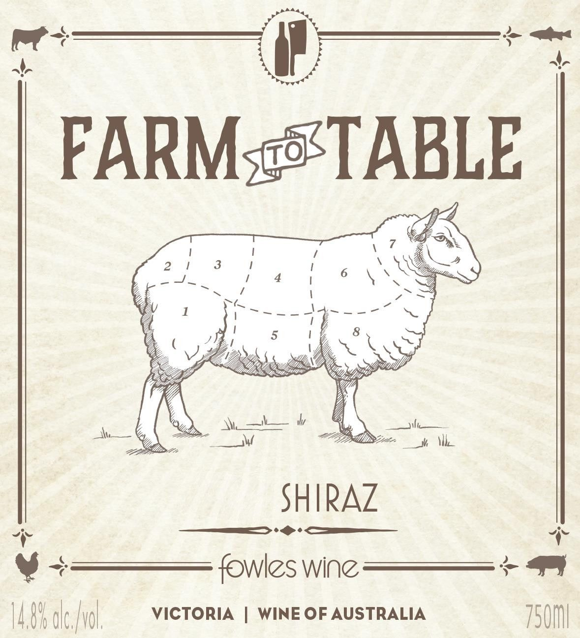 Fowles Wine Farm to Table Shiraz 2017  Front Label