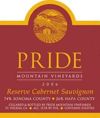 Pride Mountain Vineyards Reserve Cabernet Sauvignon 2006  Front Label