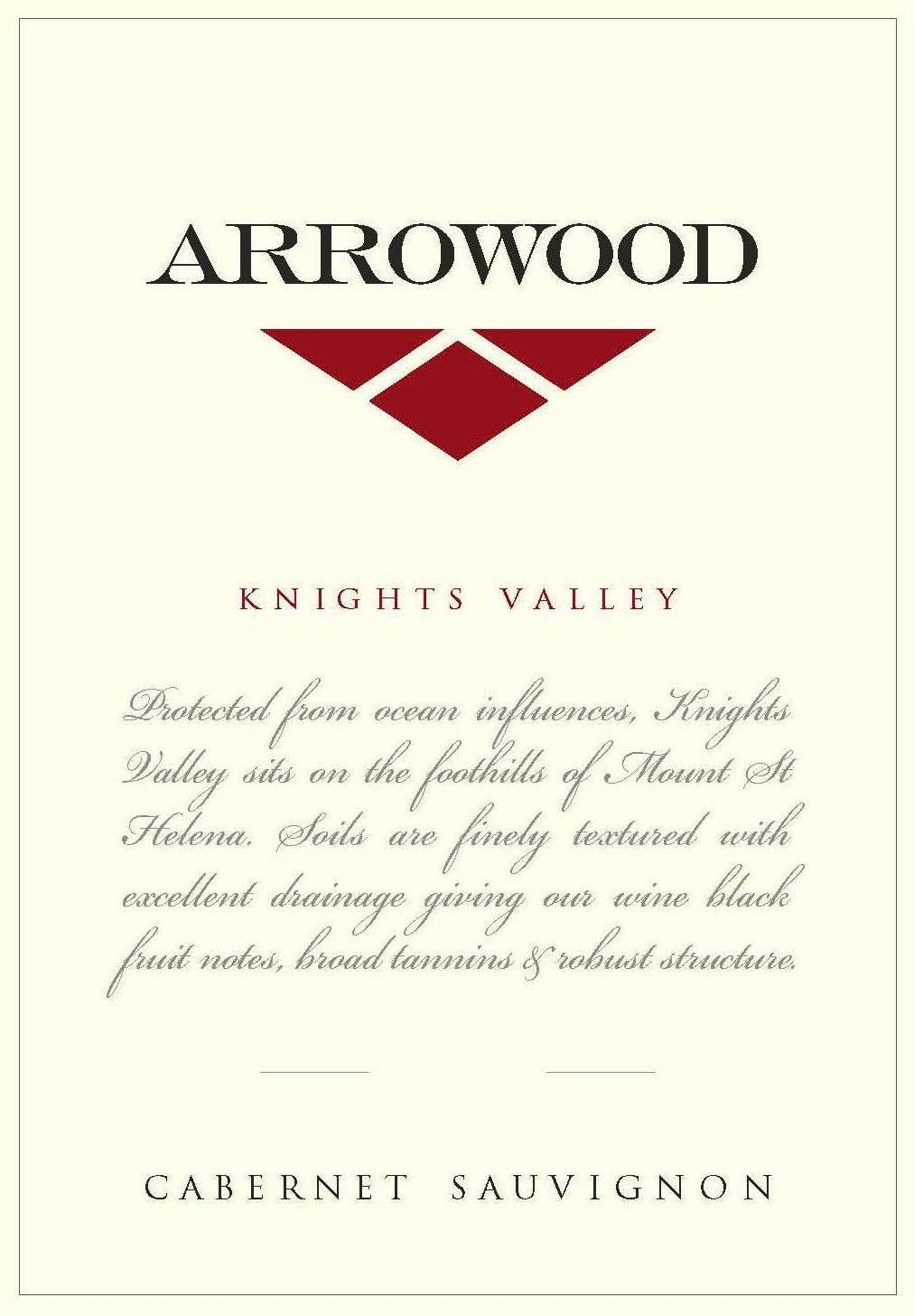 Arrowood Knights Valley Cabernet Sauvignon 2015 Front Label
