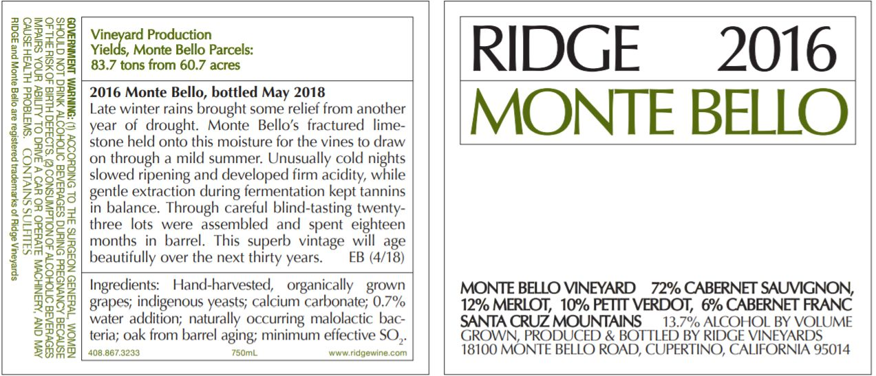 Ridge Monte Bello 2016  Front Label