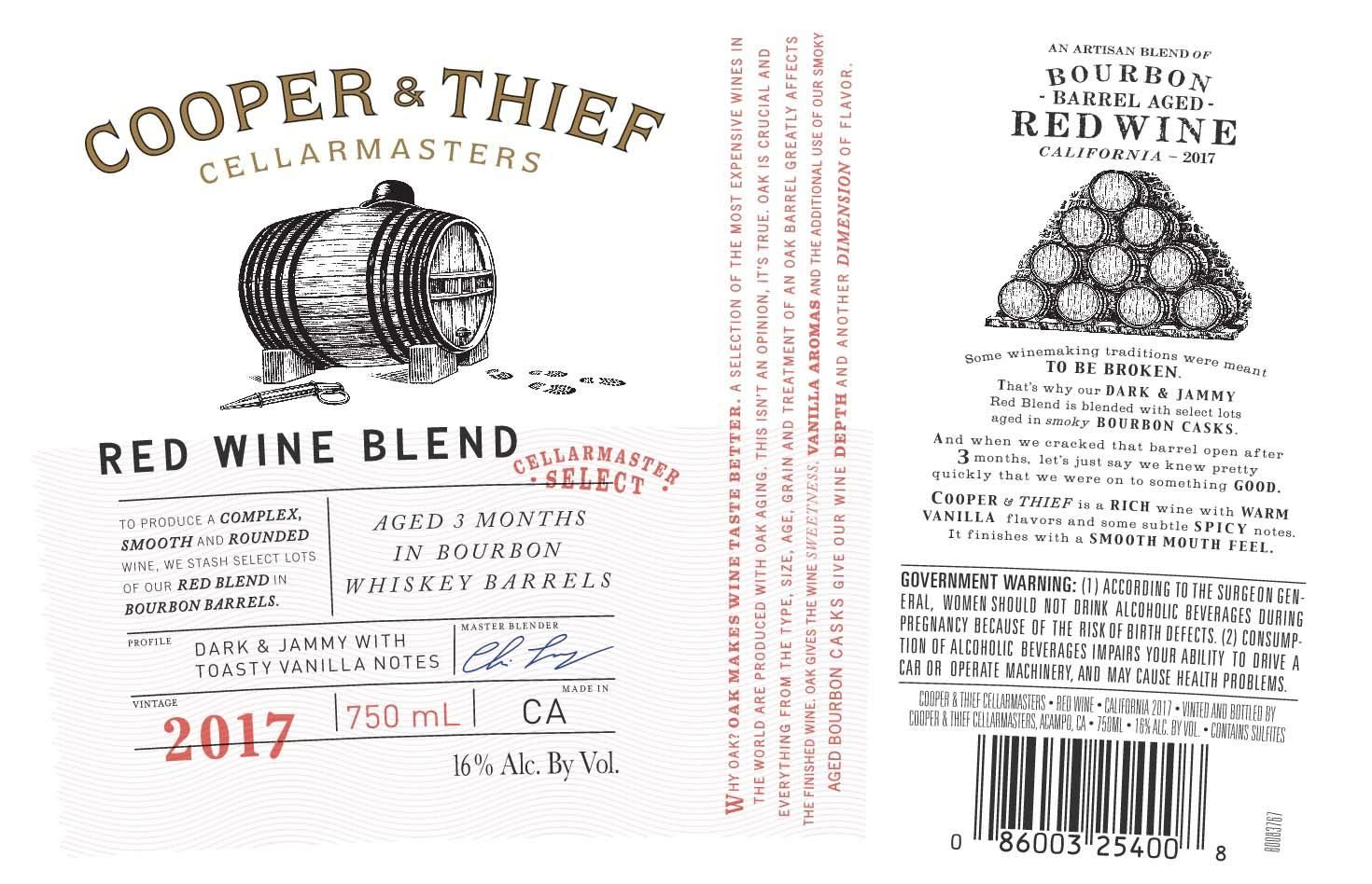 Cooper & Thief Bourbon Barrel Aged Red 2017  Front Label