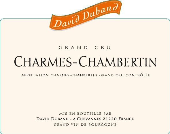 David Duband Charmes-Chambertin Grand Cru 2010  Front Label