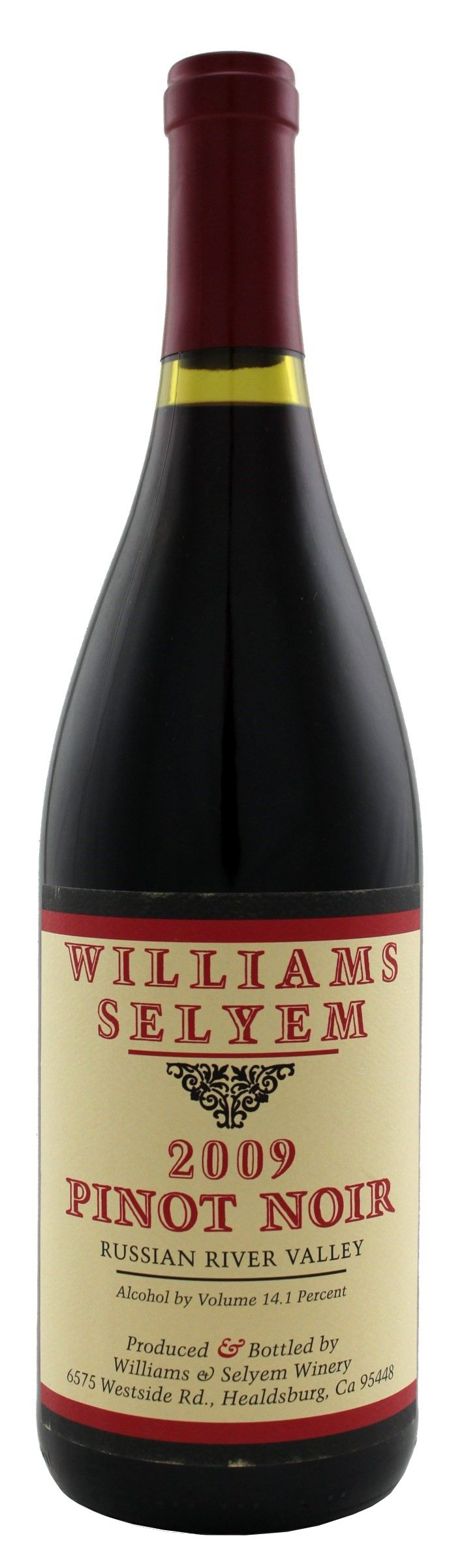Williams Selyem Russian River Valley Pinot Noir 2009  Front Bottle Shot