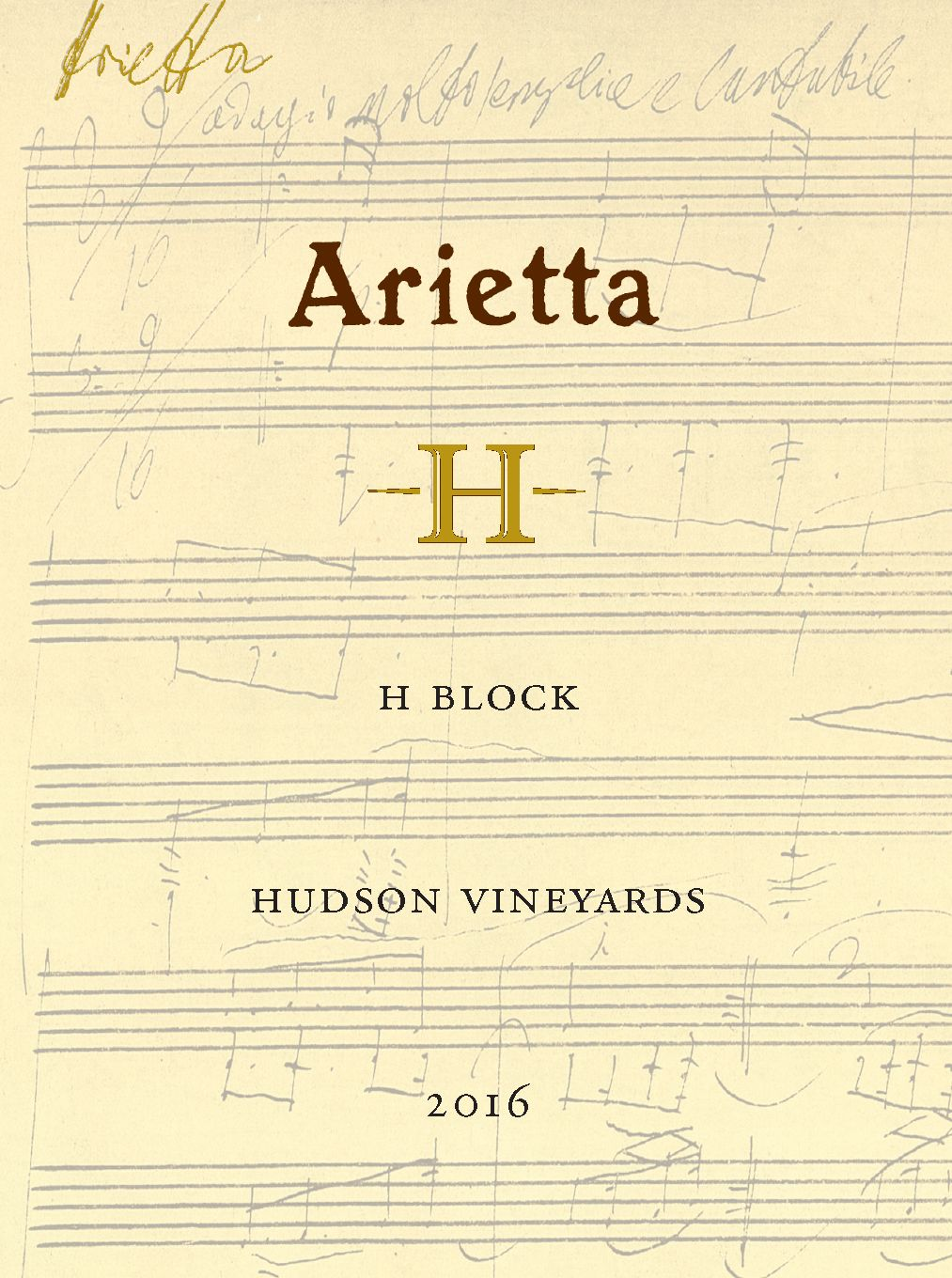 Arietta H Block Hudson Vineyards Red Blend 2016  Front Label