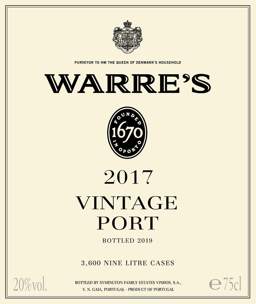 Warre's Vintage Port (375ML half-bottle) 2017  Front Label