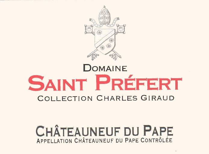 Domaine Saint Prefert Chateauneuf-du-Pape Collection Charles Giraud 2017 Front Label
