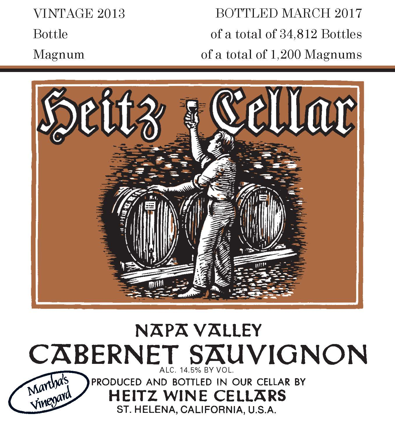 Heitz Cellar Martha's Vineyard Cabernet Sauvignon 2013  Front Label