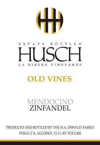 Husch La Ribera Vineyards Old Vines Zinfandel 2010  Front Label
