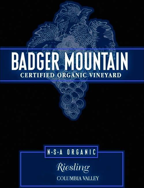 Badger Mountain N.S.A Organic Riesling 2014  Front Label