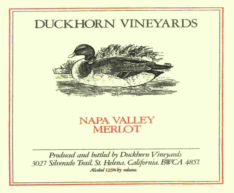 Duckhorn Napa Valley Merlot 1982  Front Label