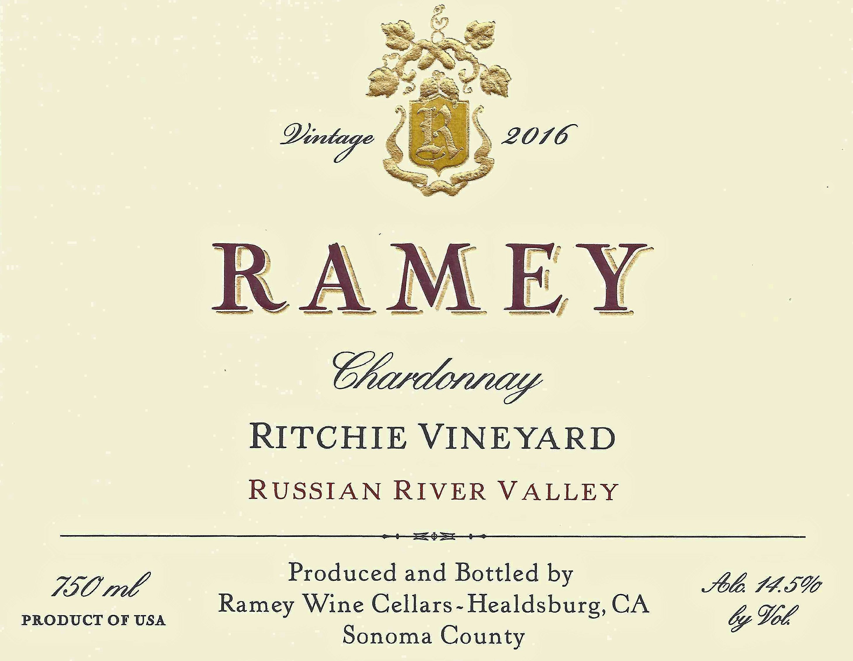 Ramey Ritchie Vineyard Chardonnay 2016  Front Label