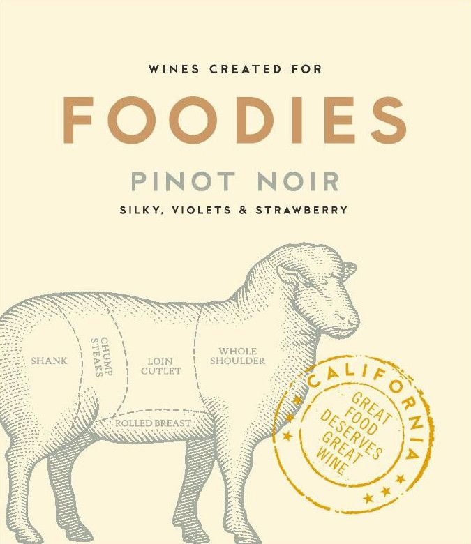 Foodies Wines Pinot Noir  Front Label