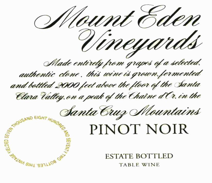 Mount Eden Vineyards Estate Pinot Noir (slightly torn label) 2010 Front Label