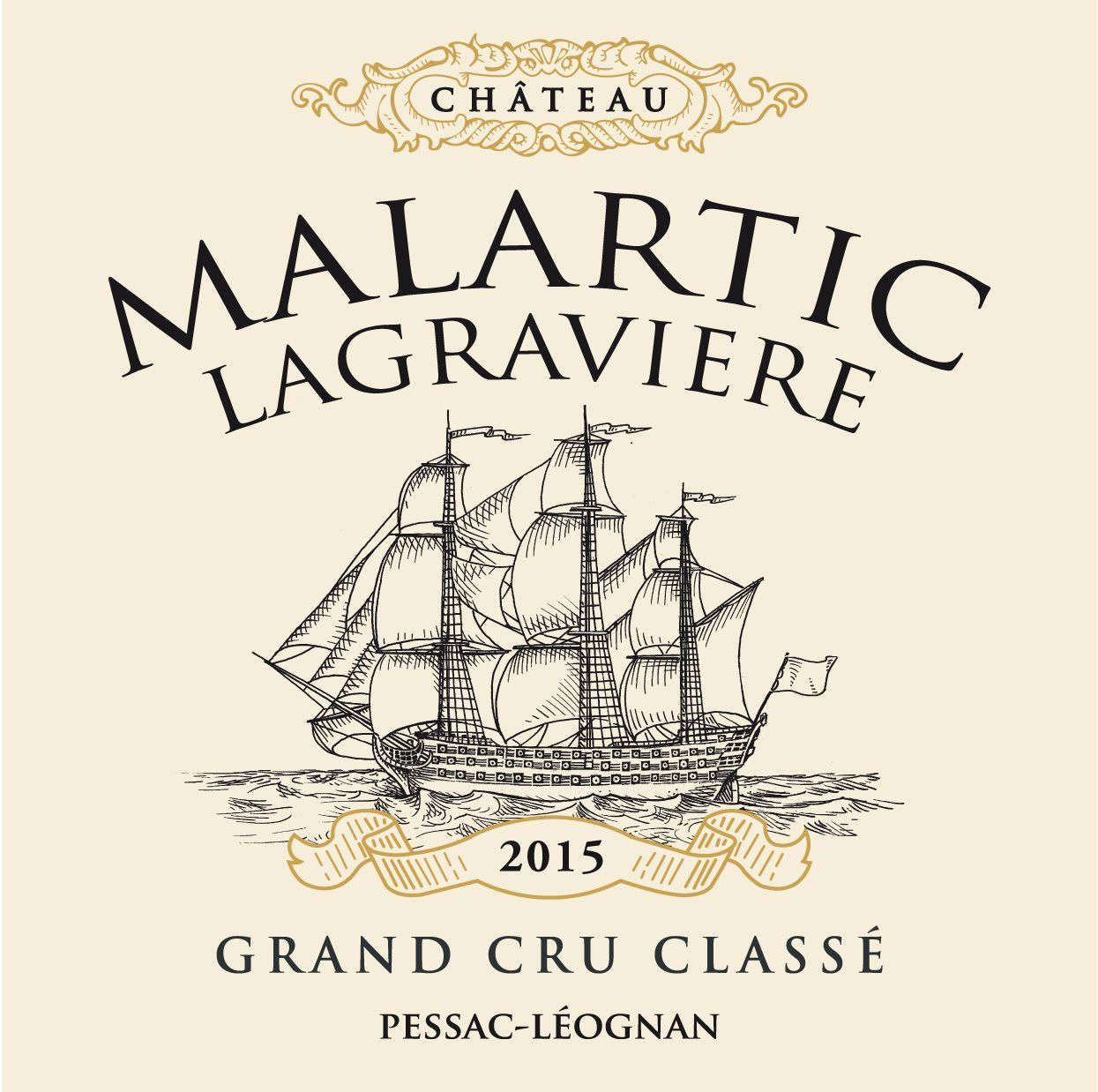 Chateau Malartic-Lagraviere  2015  Front Label