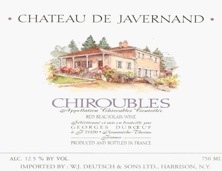 Duboeuf Chiroubles Chateau de Javernand 2004  Front Label