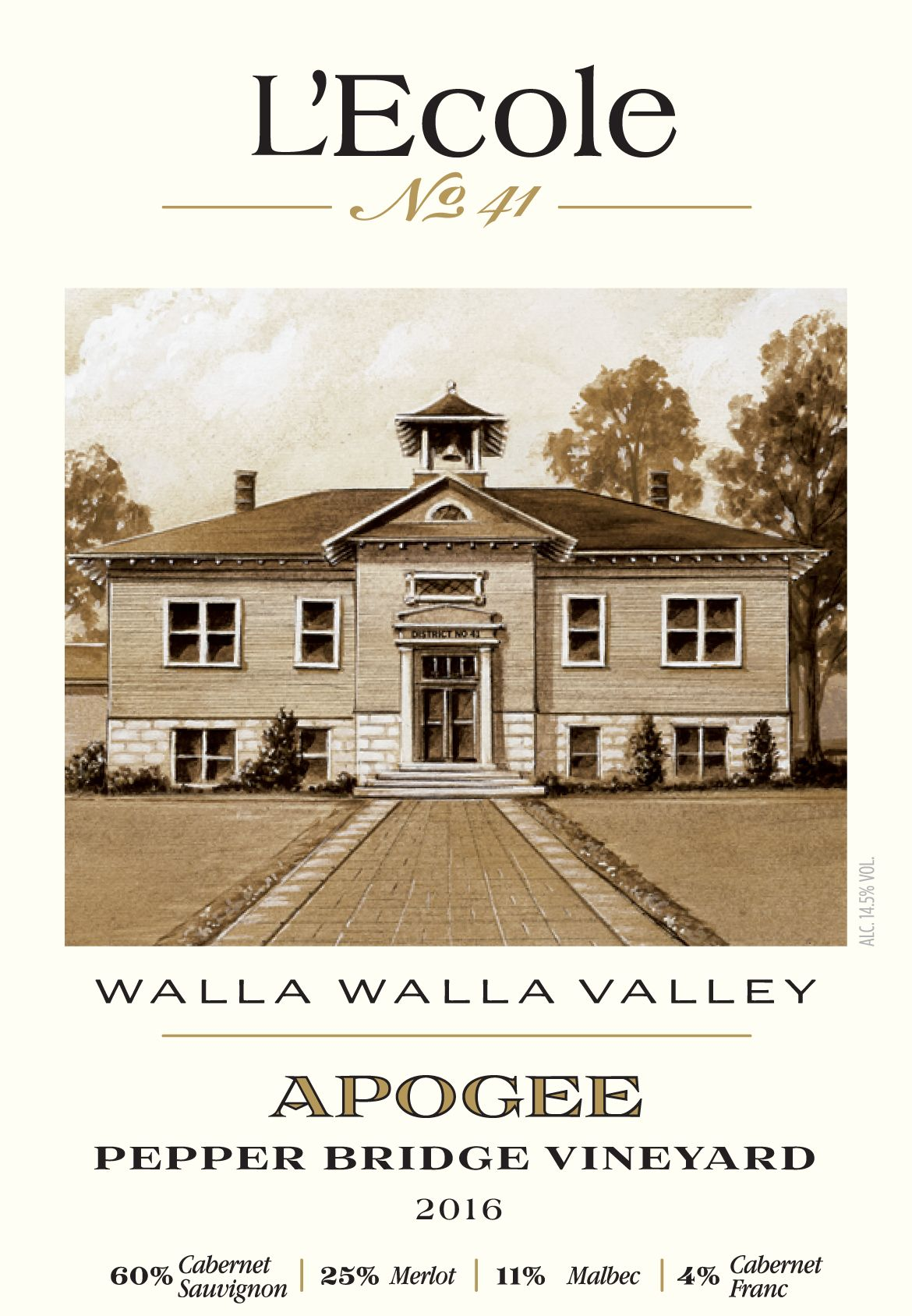 L'Ecole 41 Pepper Bridge Vineyard Apogee 2016  Front Label