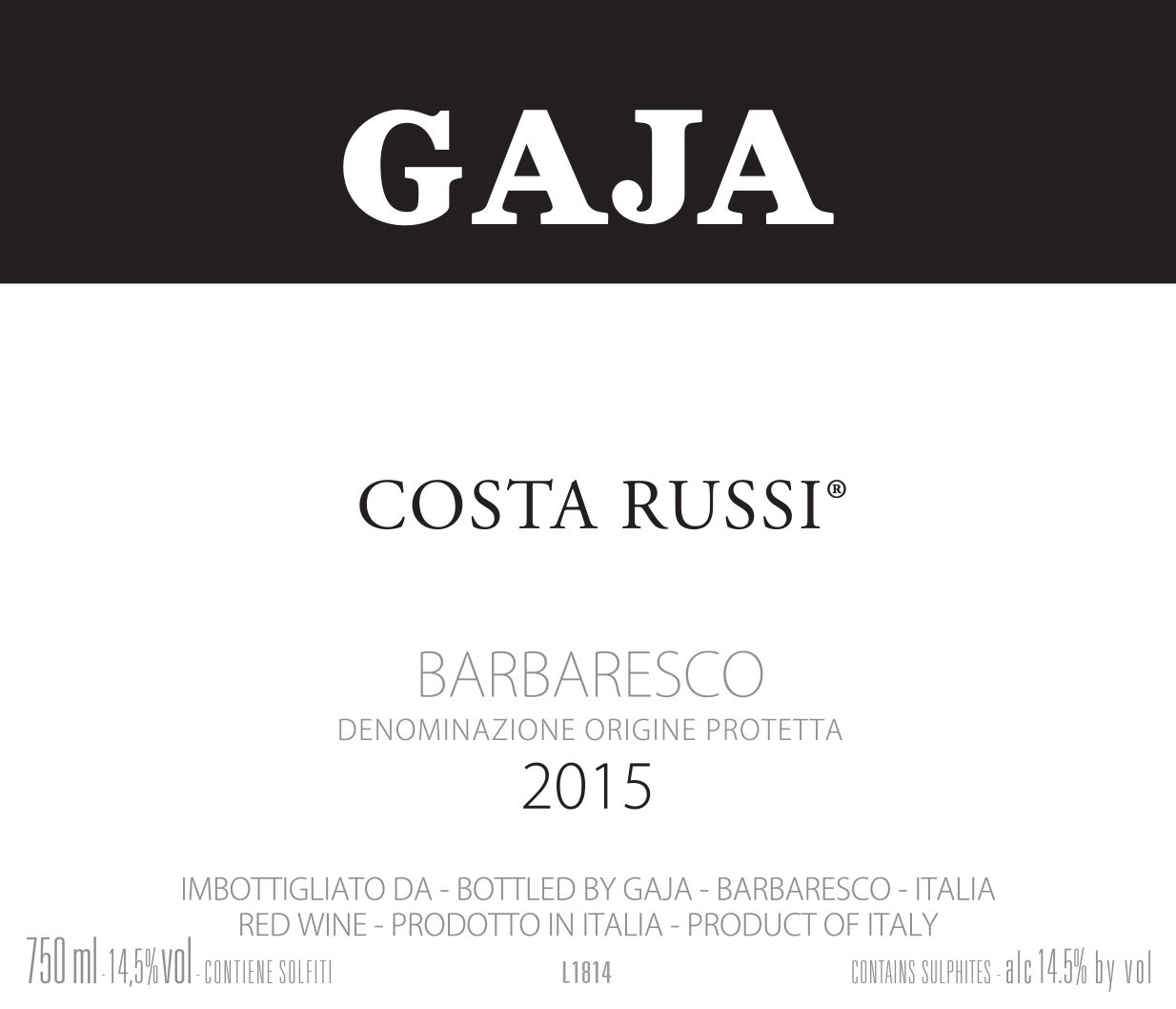 Gaja Costa Russi 2015  Front Label