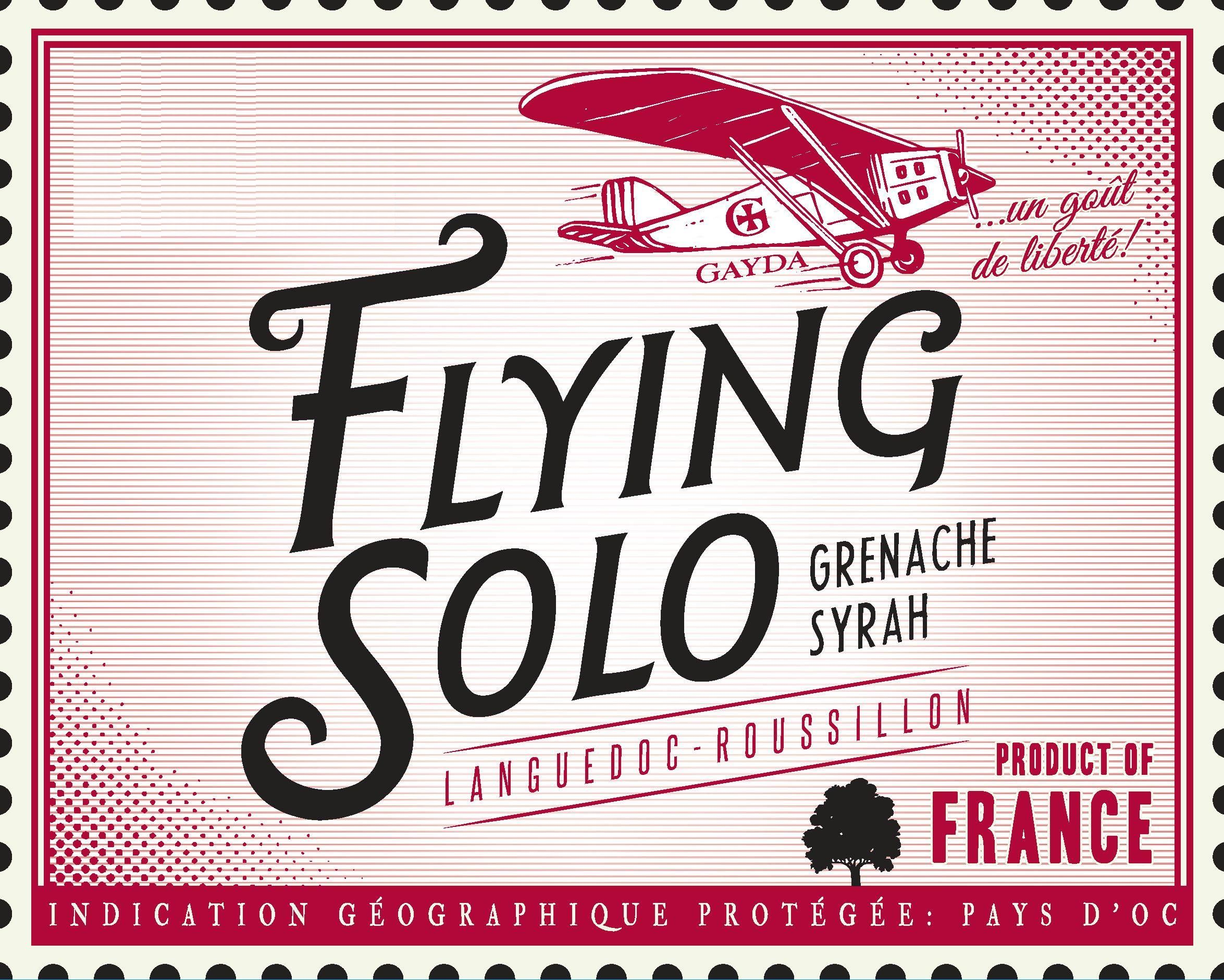 Domaine Gayda Flying Solo Grenache Syrah 2017  Front Label