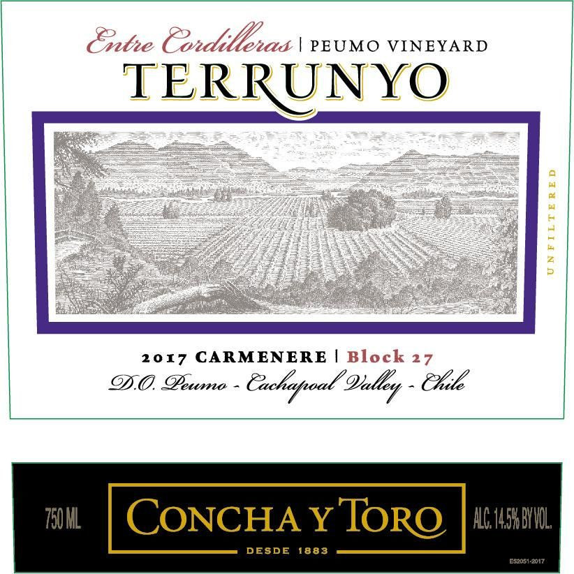 Terrunyo Peumo Vineyard Block 27 Carmenere 2017 Front Label