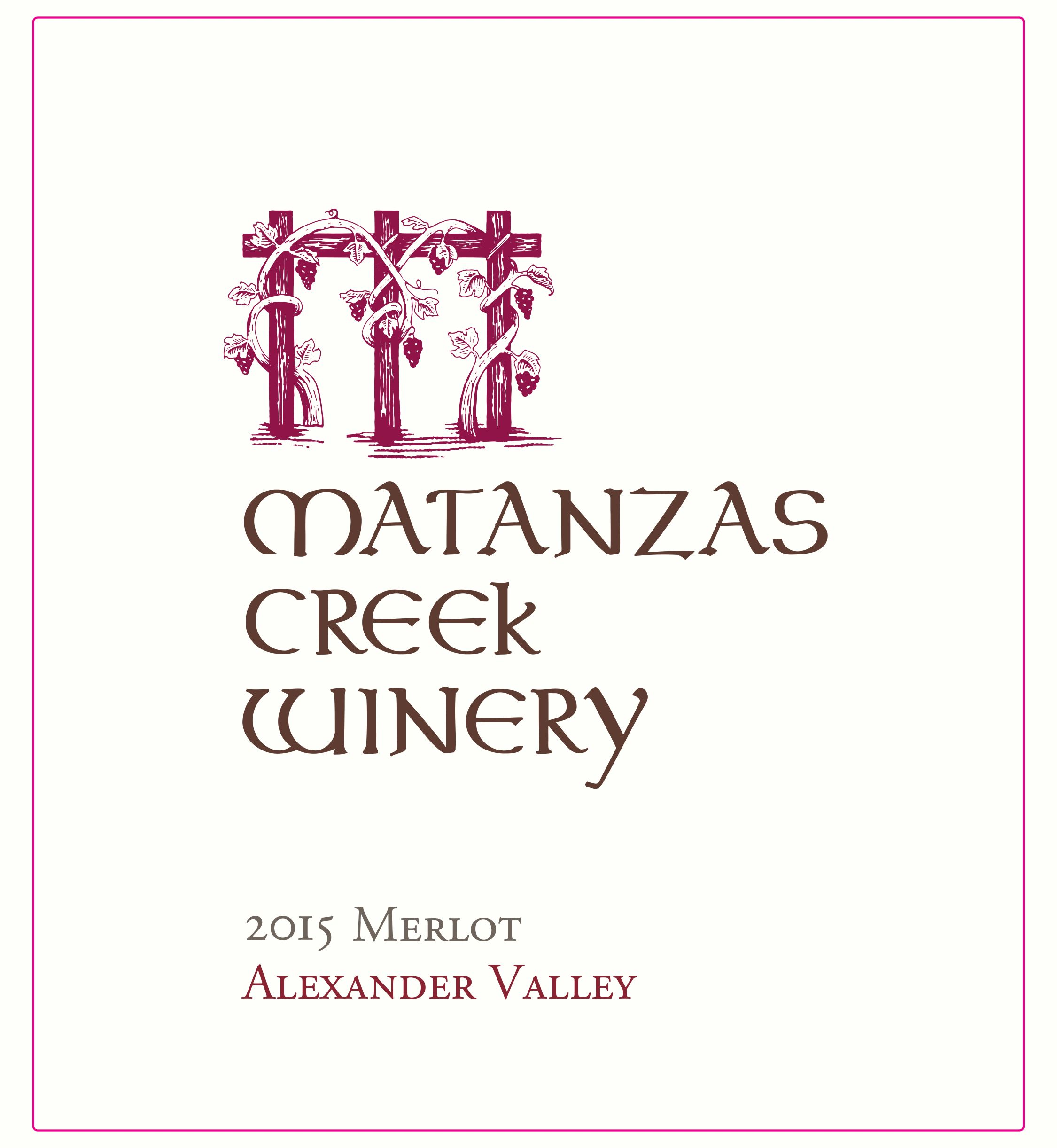 Matanzas Creek Alexander Valley Merlot 2015  Front Label