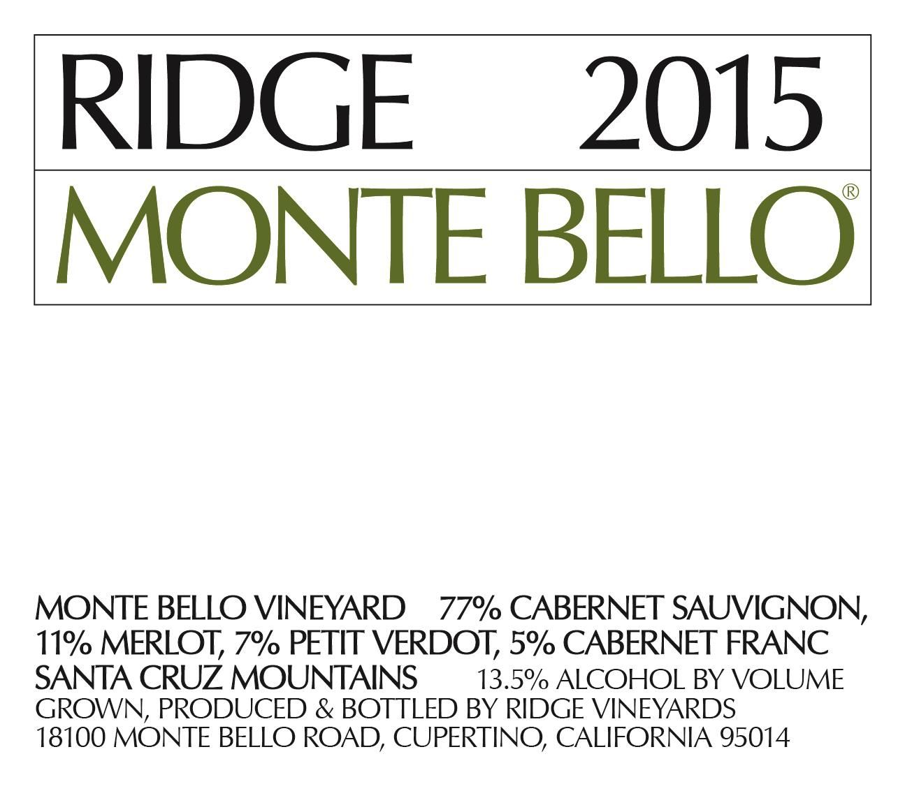 Ridge Monte Bello 2015  Front Label