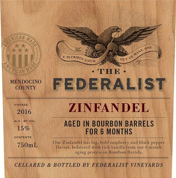 The Federalist Bourbon Barrel Aged Zinfandel 2016 Front Label