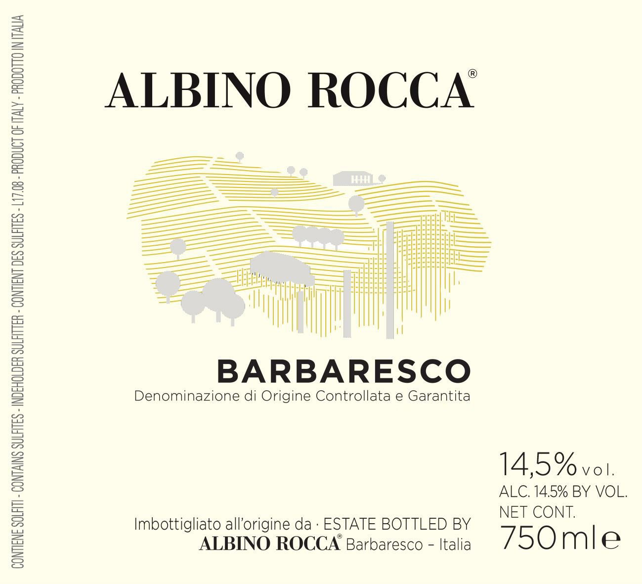 Albino Rocca Barbaresco 2018  Front Label