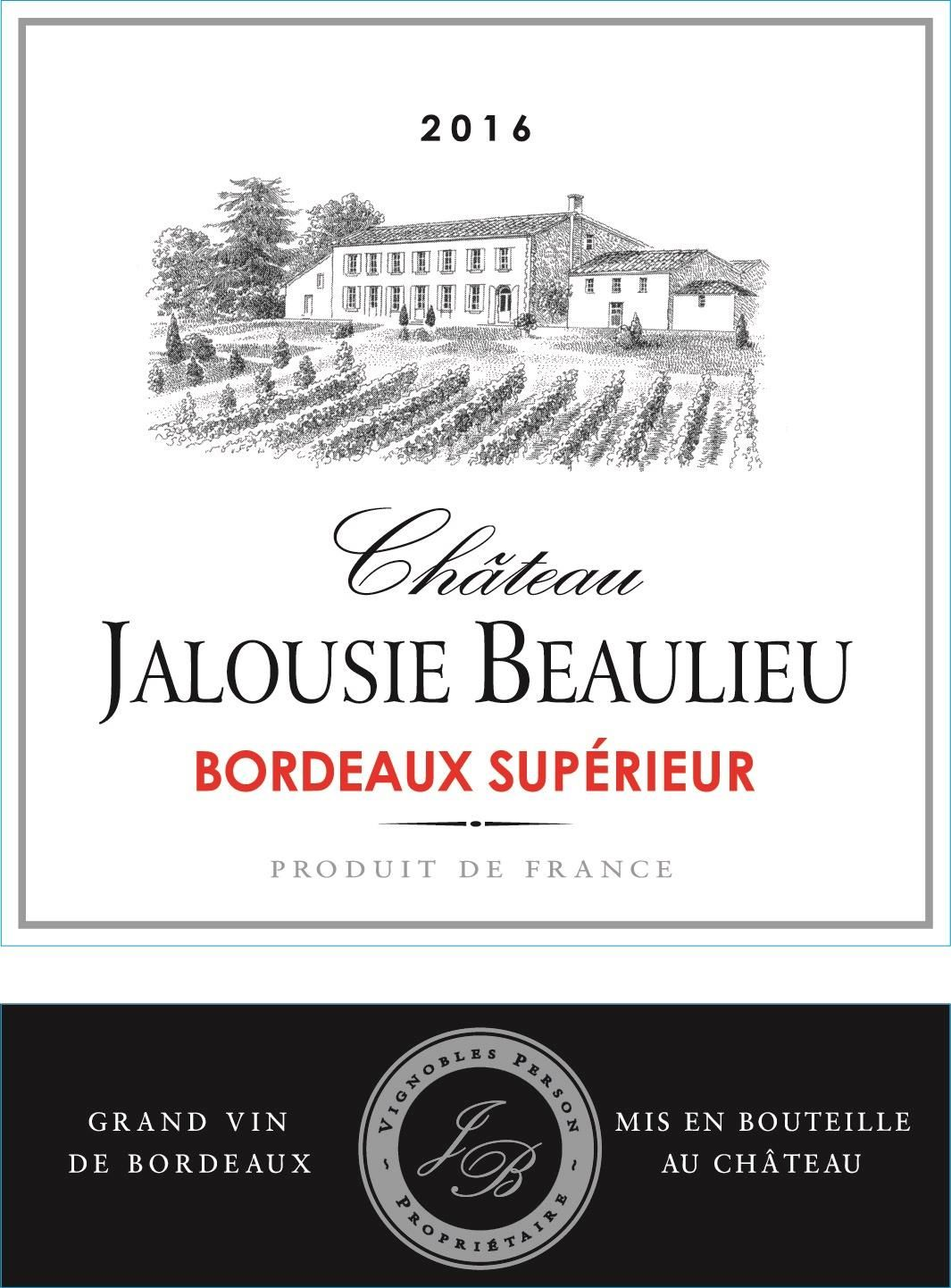 Chateau Jalousie Beaulieu Bordeaux Superieur 2016  Front Label