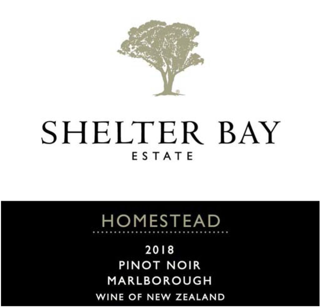 Shelter Bay Homestead Pinot Noir 2018  Front Label