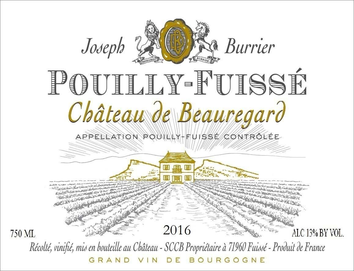 Burrier Chateau de Beauregard Pouilly-Fuisse (375ML half-bottle) 2016 Front Label