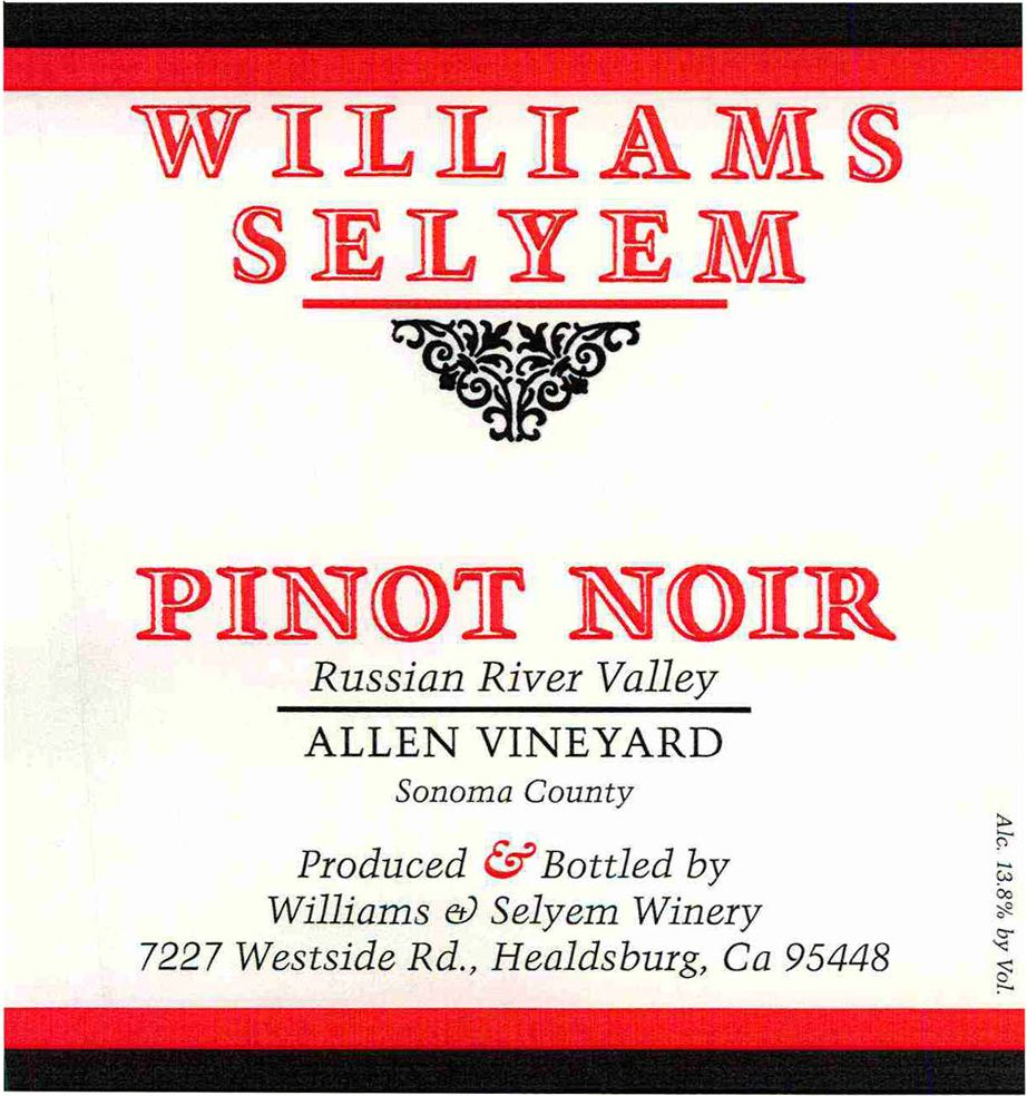 Williams Selyem Allen Vineyard Pinot Noir 2017  Front Label