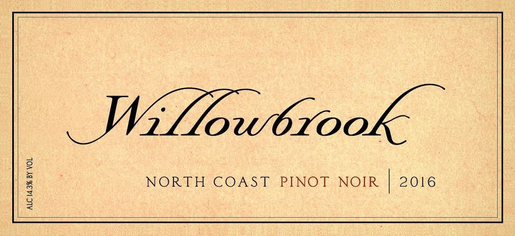Willowbrook Cellars  North Coast Pinot Noir 2016  Front Label