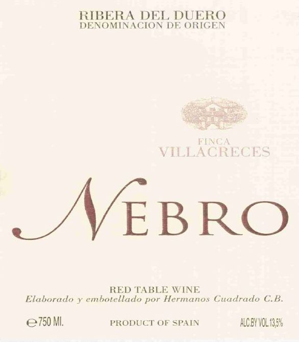 Finca Villacreces Nebro 2001  Front Label