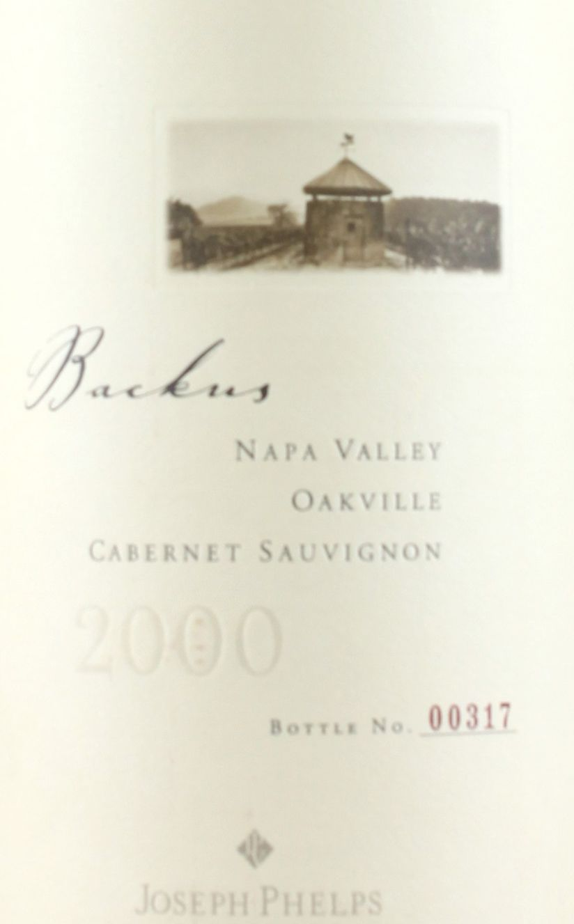 Joseph Phelps Backus Vineyard Cabernet Sauvignon 2000  Front Label
