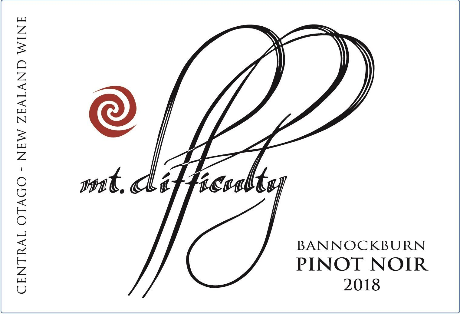 Mt Difficulty Pinot Noir 2018 Front Label