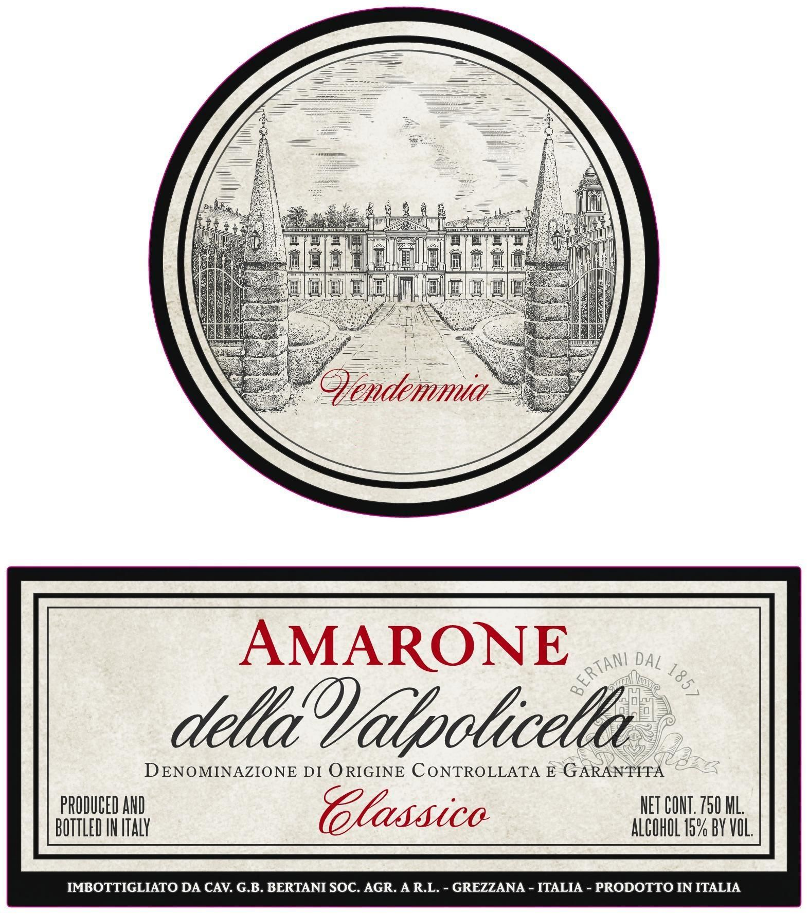 Bertani Amarone Classico 1990  Front Label