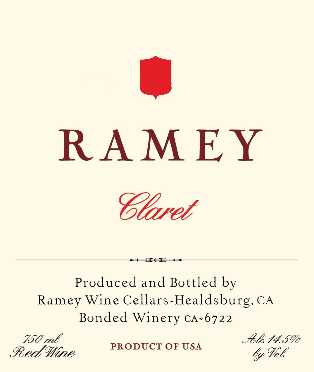 Ramey Napa Valley Claret 2016 Front Label