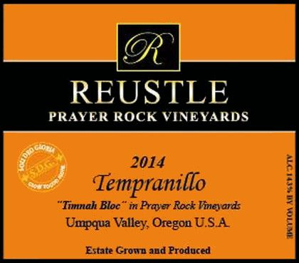Reustle - Prayer Rock Vineyards Timnah Bloc Tempranillo 2014  Front Label