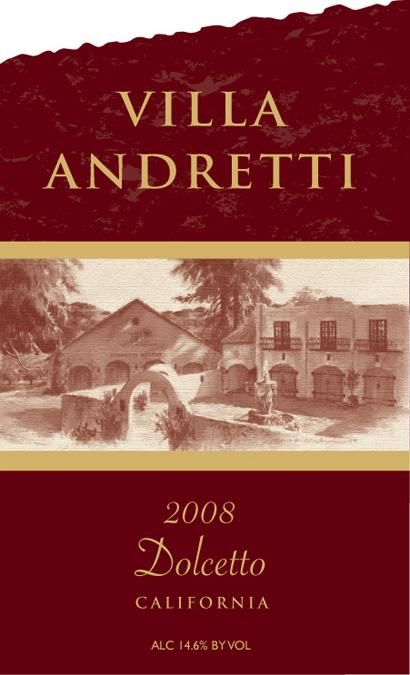 Andretti Dolcetto 2008  Front Label