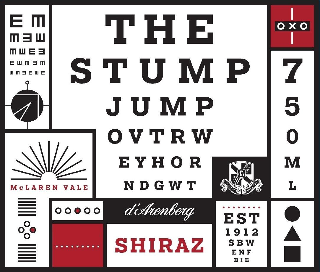 d'Arenberg The Stump Jump Shiraz 2017  Front Label