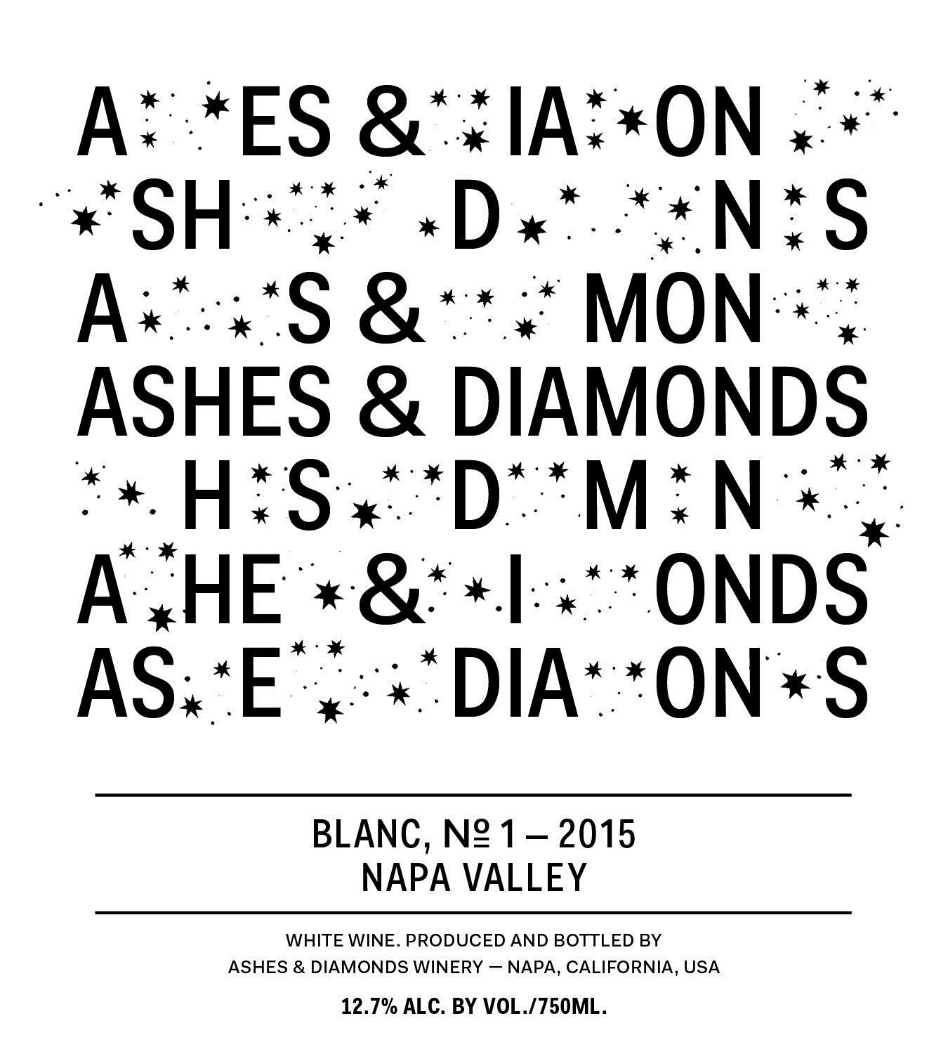 Ashes & Diamonds Blanc No. 1 2015 Front Label