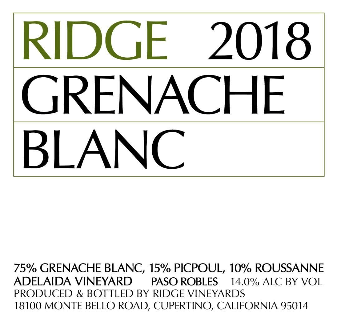 Ridge Grenache Blanc 2018  Front Label