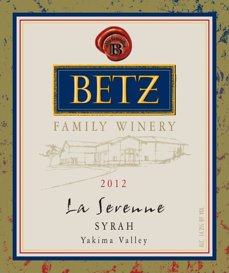 Betz Family Winery La Serenne Syrah 2012  Front Label