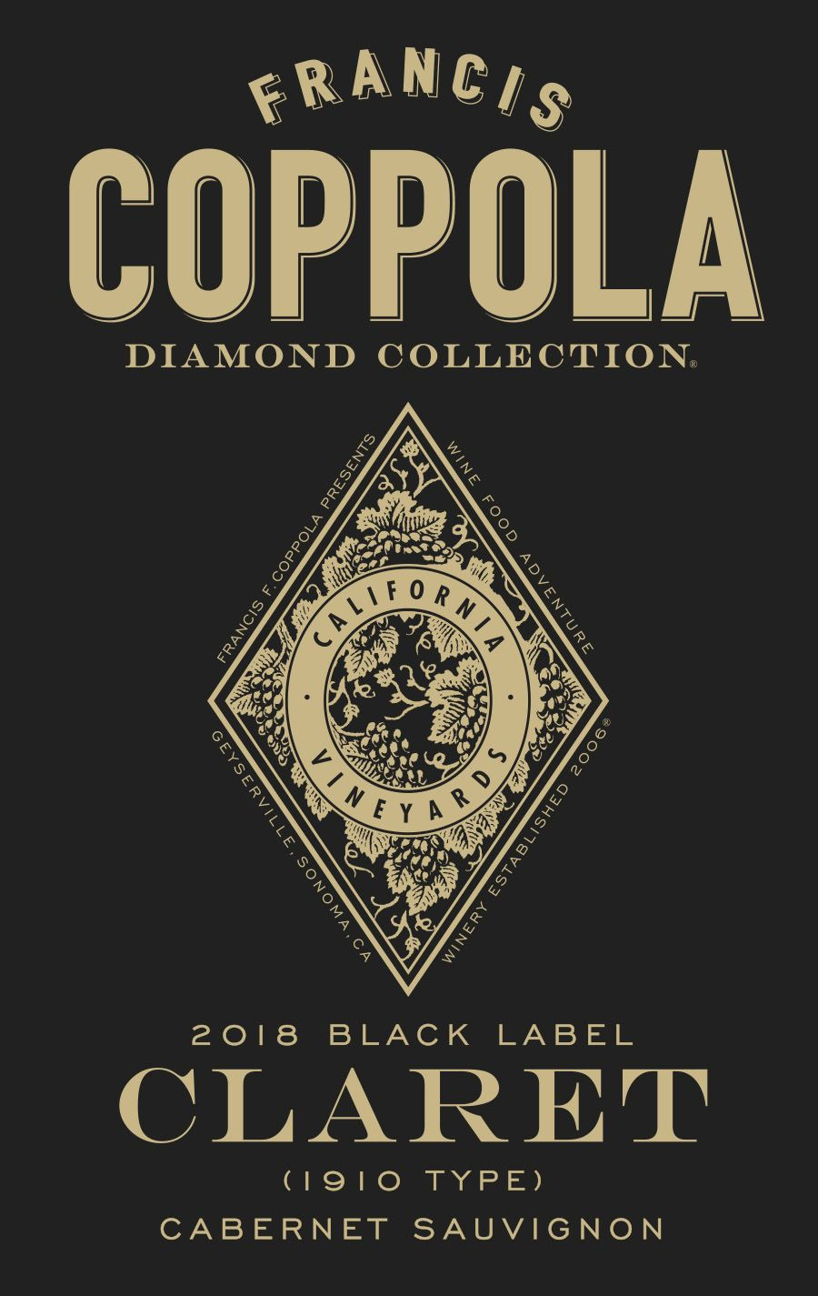 Francis Ford Coppola Diamond Collection Claret 2018 Front Label