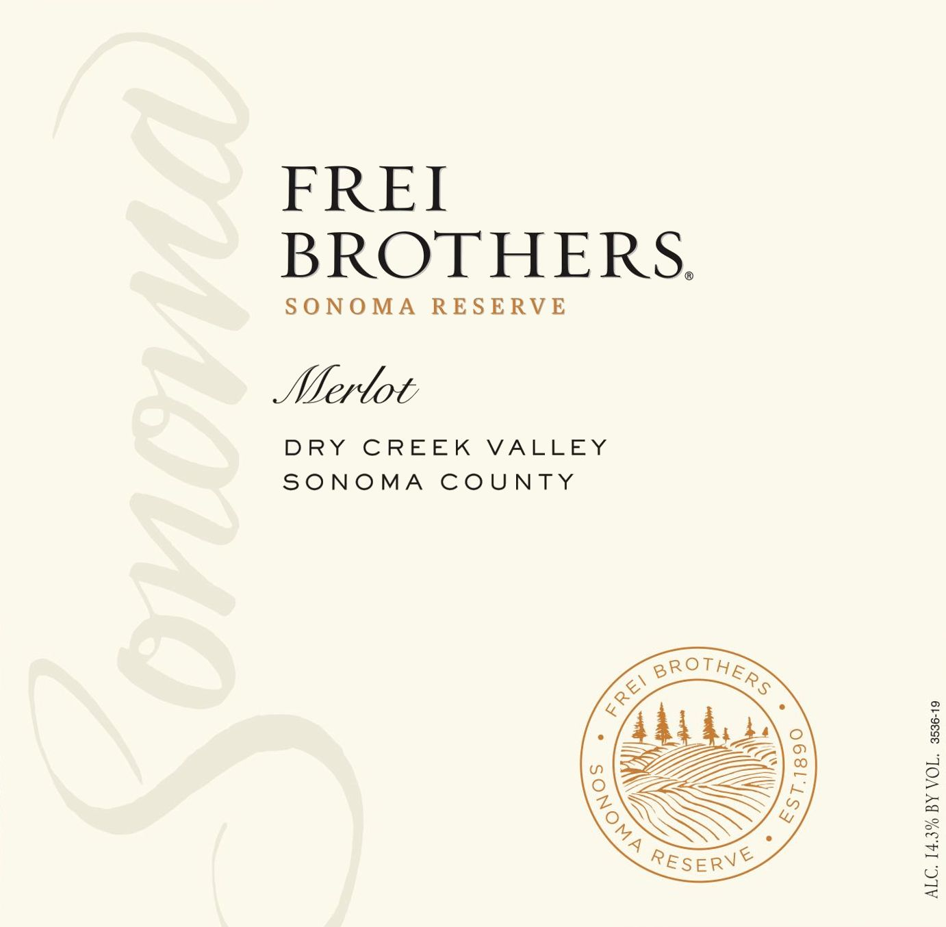 Frei Brothers Reserve Merlot 2018  Front Label
