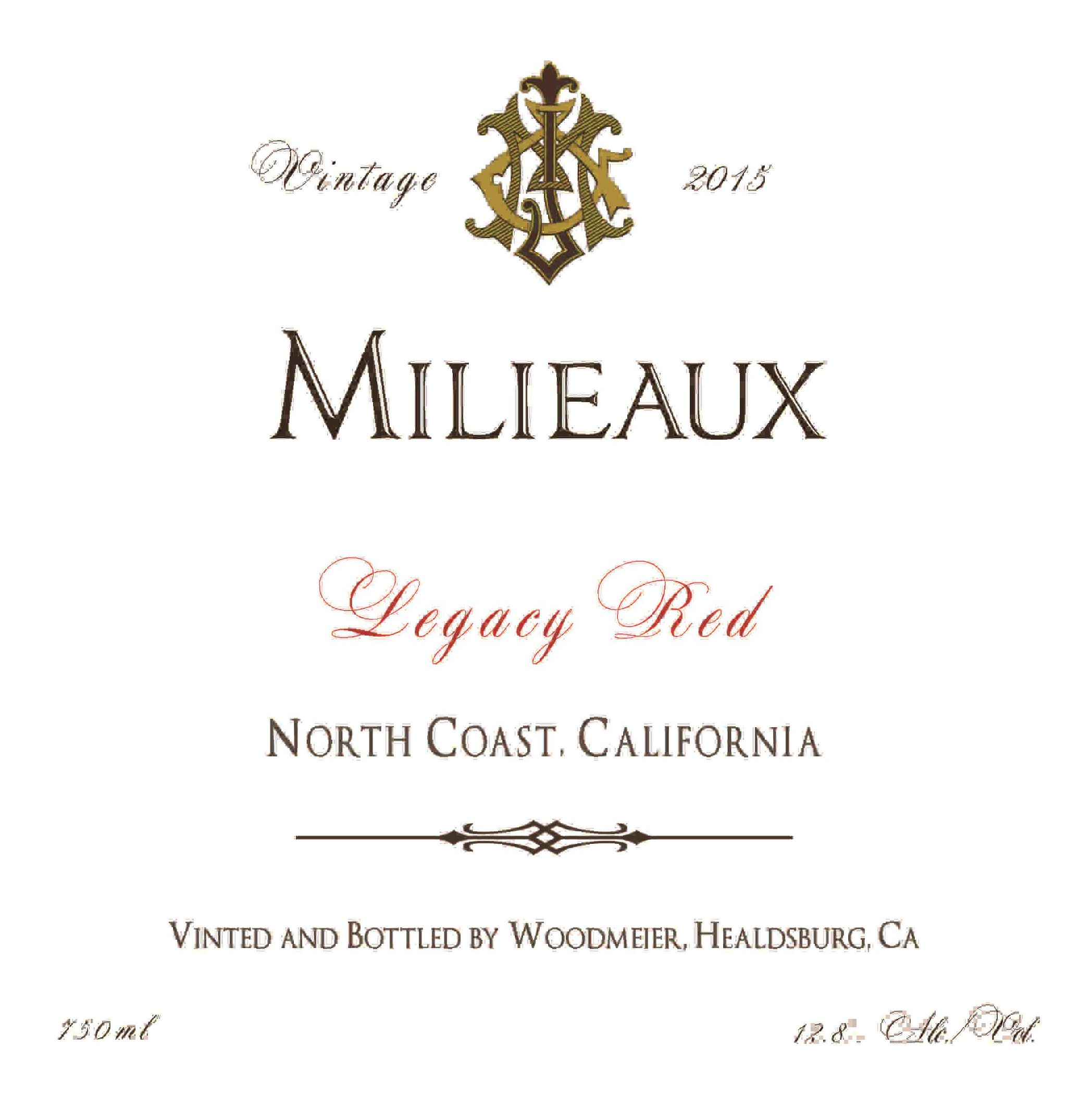 Woodmeier Milieaux Legacy Red 2015  Front Label