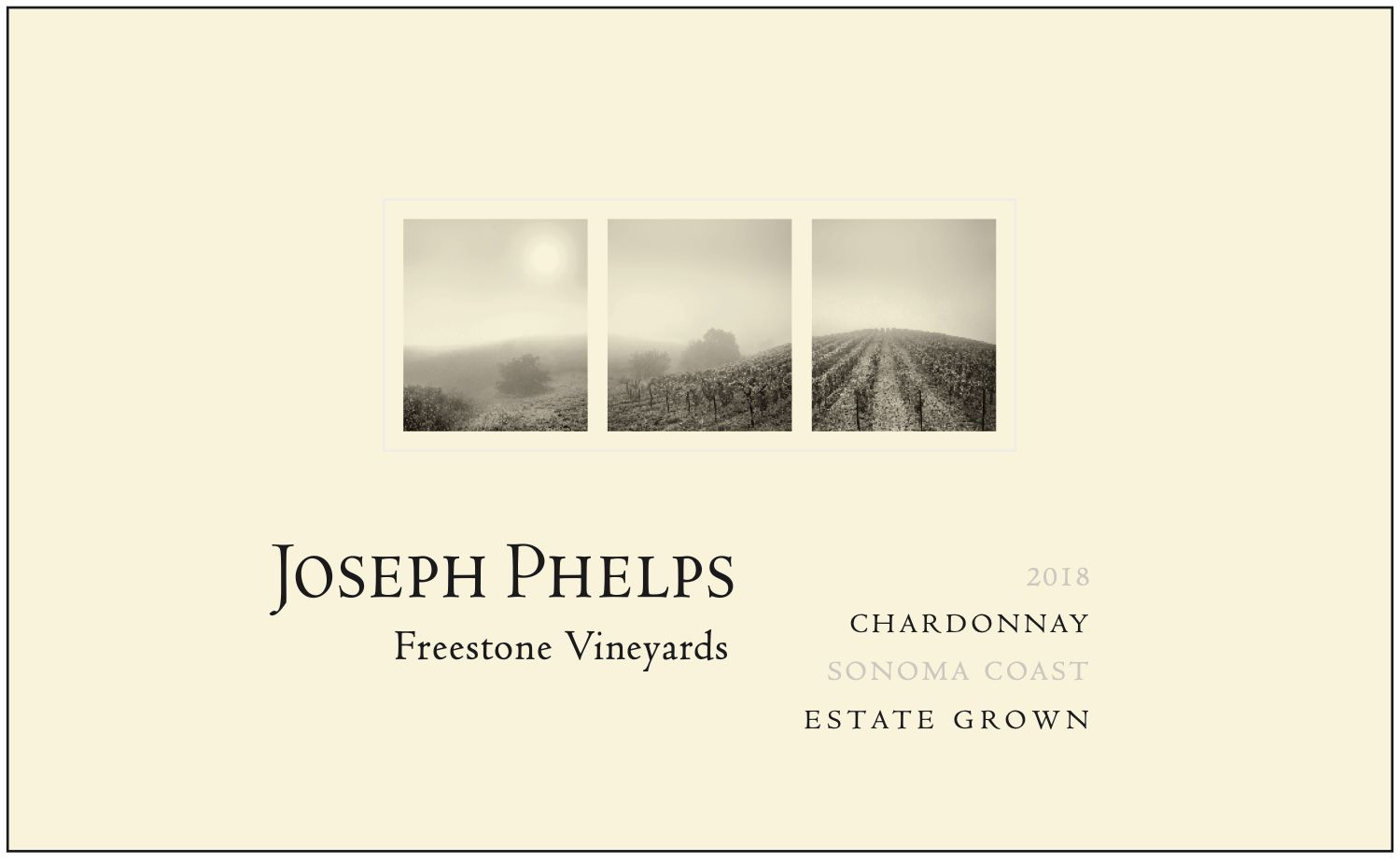 Joseph Phelps Freestone Vineyards Sonoma Coast Chardonnay 2018  Front Label