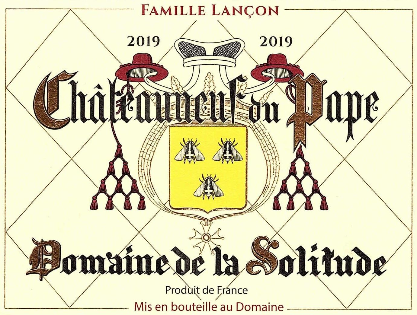 Domaine de la Solitude Chateauneuf-du-Pape 2019  Front Label