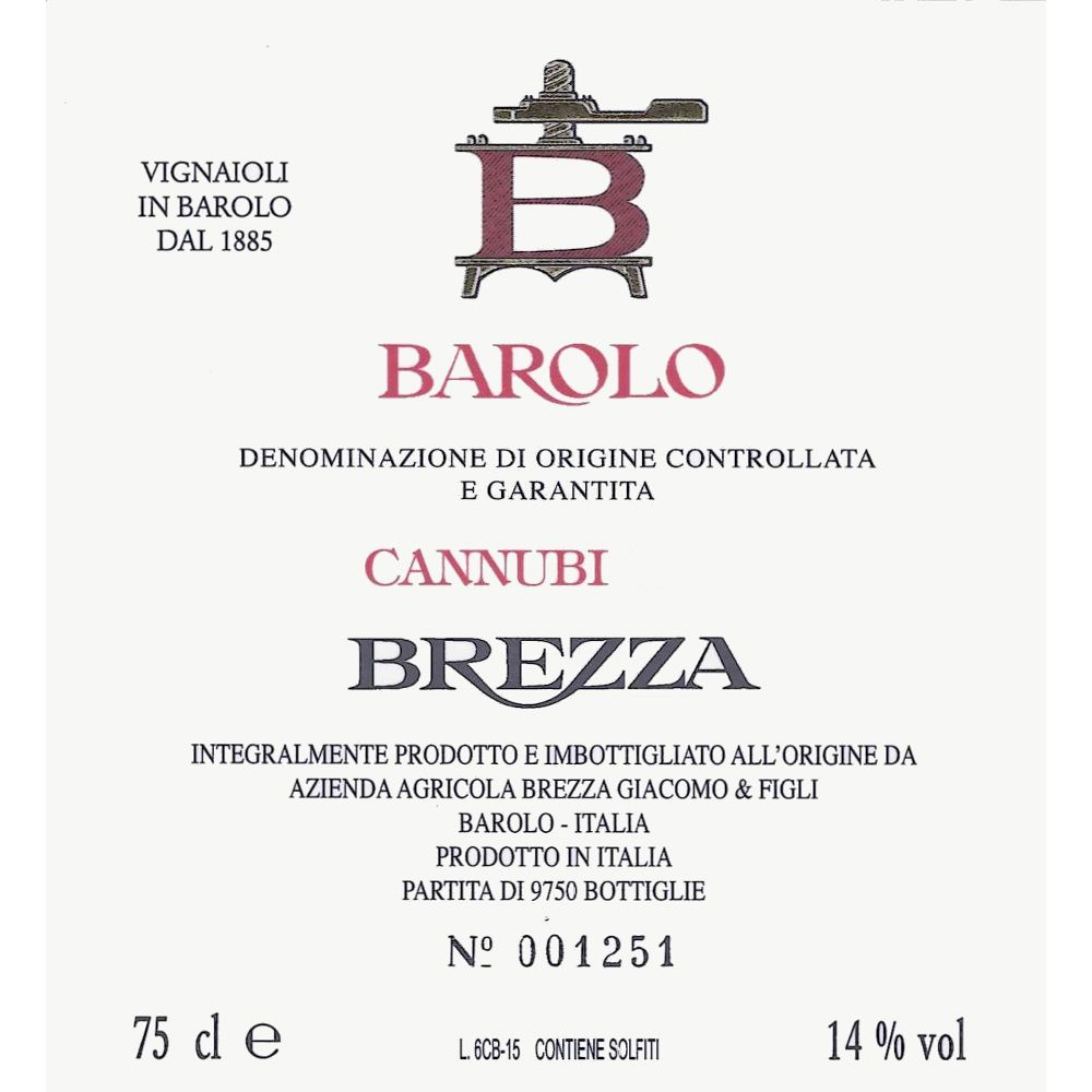 Brezza Barolo Cannubi 2015  Front Label