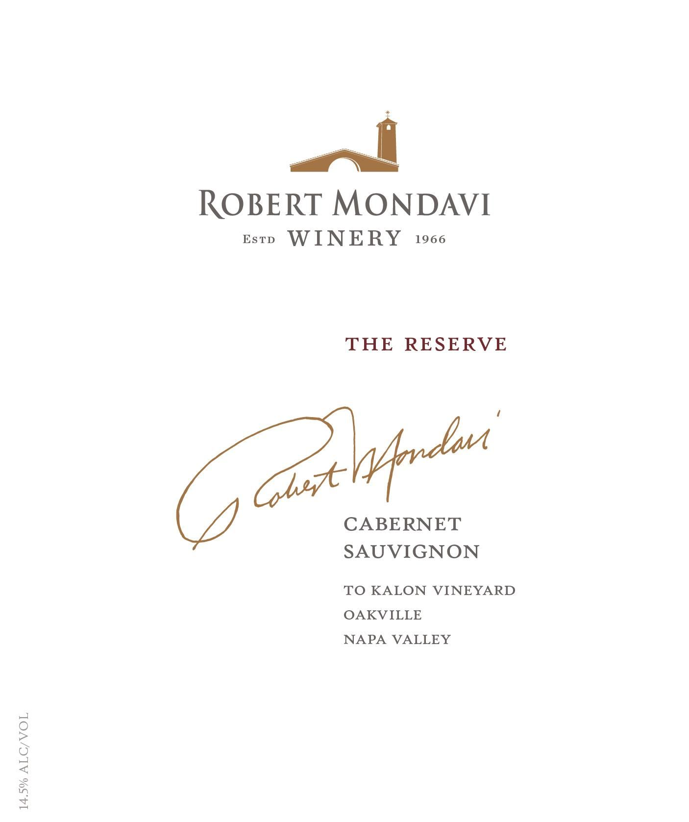 Robert Mondavi To Kalon Vineyard Reserve Cabernet Sauvignon 2016  Front Label